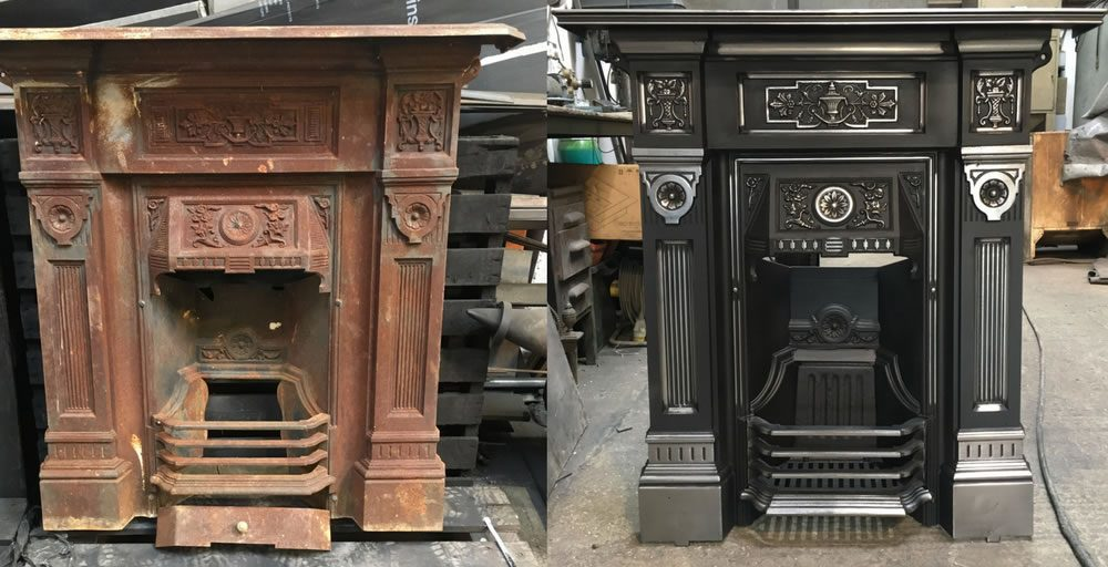 Cast Iron fireplace restoration before and after photos - Ironwright