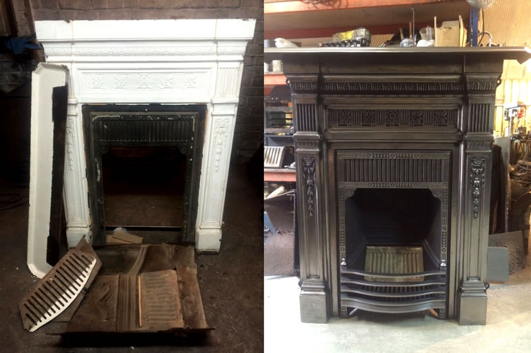 Cast Iron fireplace restoration before and after - Ironwright